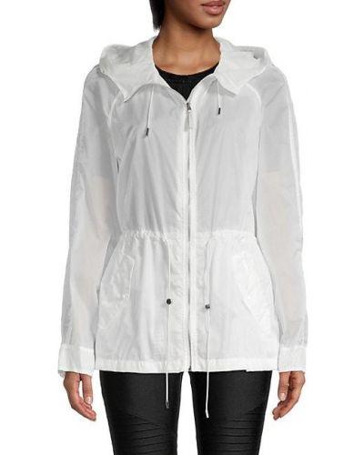 Белая длинная куртка с капюшоном на молнии Mackage