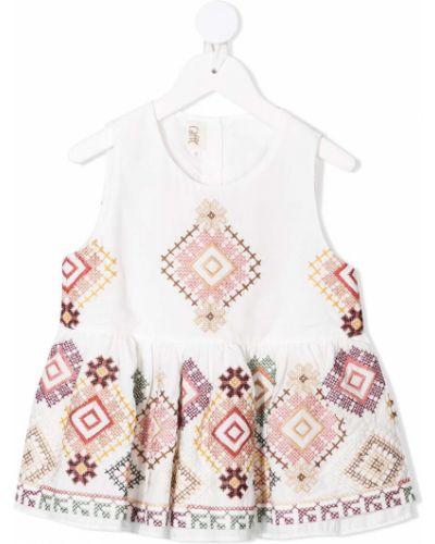 Белая блузка без рукавов с вышивкой Caffe' D'orzo