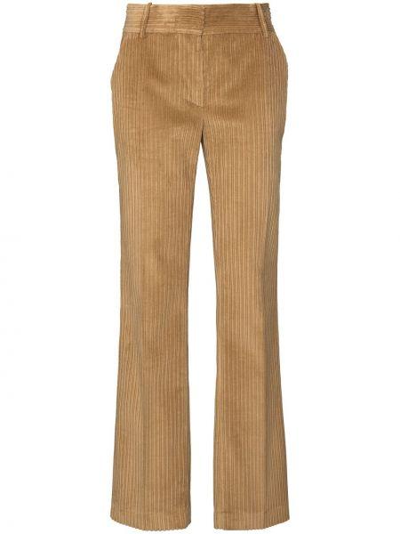 Брючные бежевые прямые брюки с поясом Victoria Beckham