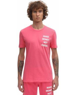 Różowy t-shirt bawełniany z printem Make Money Not Friends