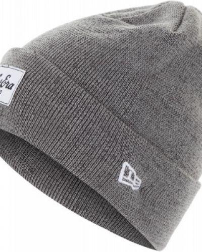 Акриловая серая спортивная шапка с отворотом New Era