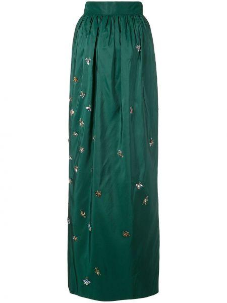 Ażurowa zielona spódnica maxi z jedwabiu Carolina Herrera