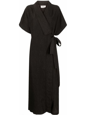 Черное платье миди с короткими рукавами с завязками Barena
