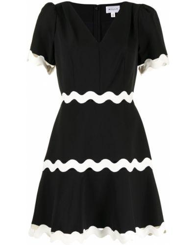 Расклешенное с рукавами черное платье миди Milly