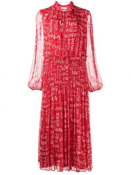 Платье макси с длинными рукавами - красное Jason Wu