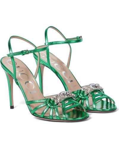 Zielone sandały skorzane szmaragd Gucci