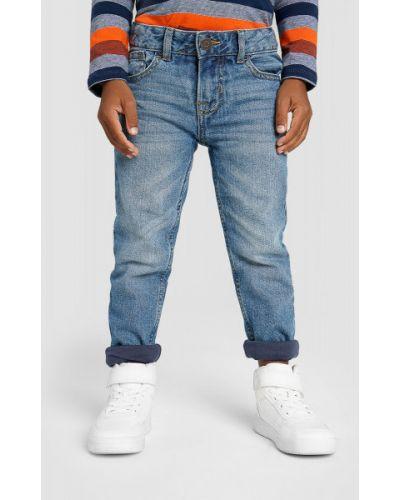 Синие зауженные джинсы классические с карманами Ostin