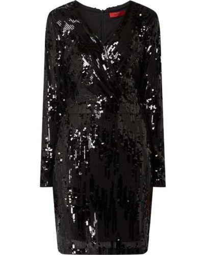 Czarna sukienka kopertowa z cekinami Hugo