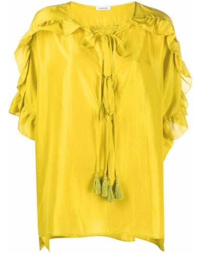 Желтая шелковая блузка со вставками P.a.r.o.s.h.