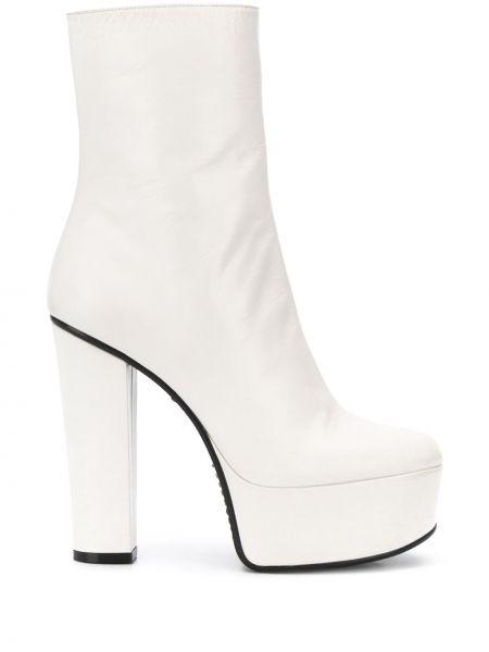 Białe kozaki na platformie skorzane Givenchy