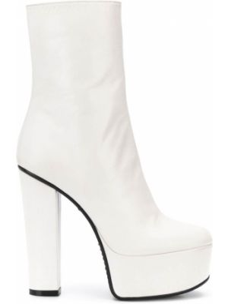 Kozaki skórzane na platformie - białe Givenchy