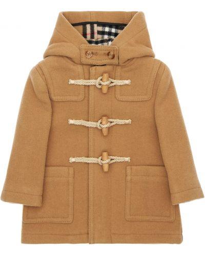 Beżowy płaszcz wełniany z kapturem Burberry