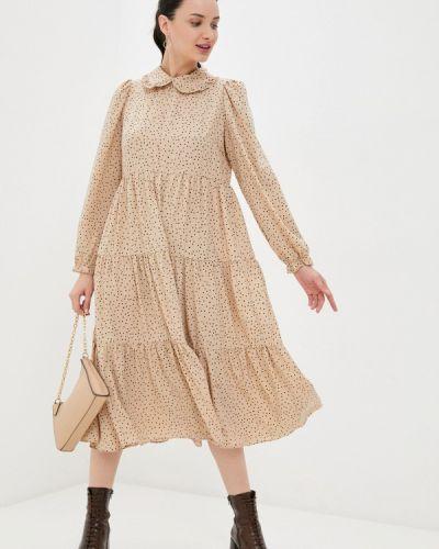 Прямое бежевое платье А-силуэта Befree
