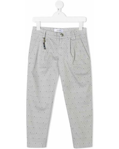 Хлопковые серые прямые прямые брюки на молнии Dondup Kids