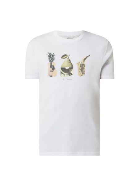 Biały t-shirt bawełniany z printem Ben Sherman