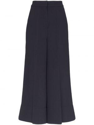 Темно-синие свободные брюки с карманами свободного кроя с высокой посадкой Roksanda
