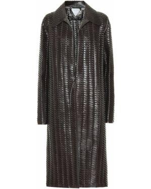 Коричневое деловое кожаное пальто из натуральной кожи Bottega Veneta