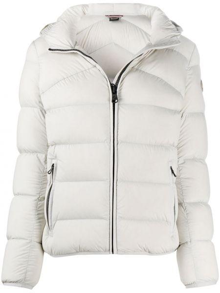 Пуховая с рукавами белая длинная куртка с перьями Colmar