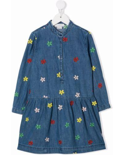 Niebieska sukienka długa z długimi rękawami Stella Mccartney Kids