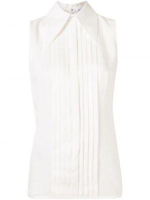 Белая шелковая прямая блузка без рукавов с воротником Andrew Gn