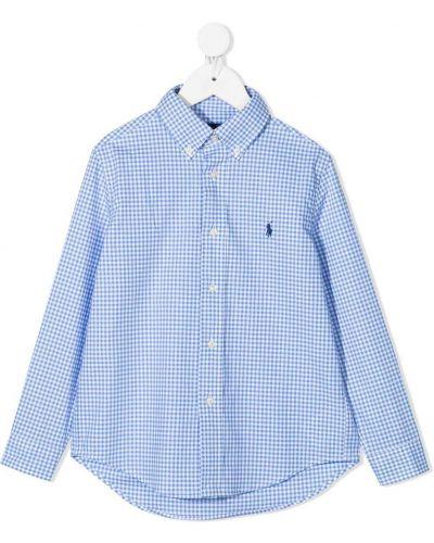 Синяя рубашка в клетку с воротником Ralph Lauren Kids