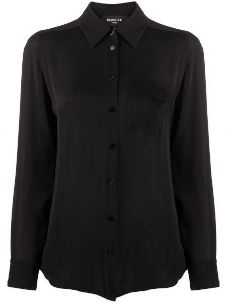 Черная прямая рубашка с воротником с карманами Paule Ka
