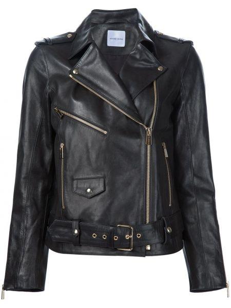 Кожаная куртка черная байкерская Anine Bing
