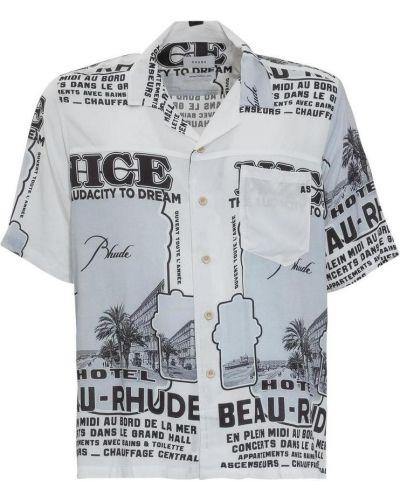 Biała koszula z printem Rhude