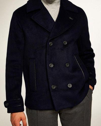 Синее пальто осеннее Topman