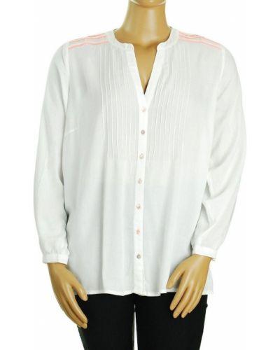 Biała bluzka z długimi rękawami z wiskozy Zizzi