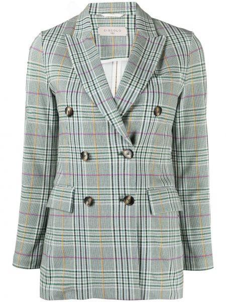 Удлиненный пиджак в клетку двубортный с карманами Circolo 1901