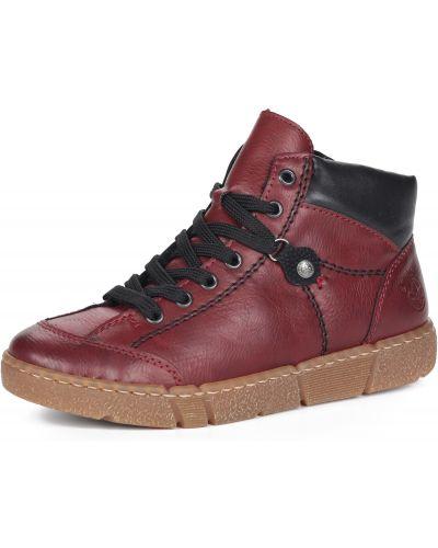 Красные кожаные кеды на шнуровке Rieker