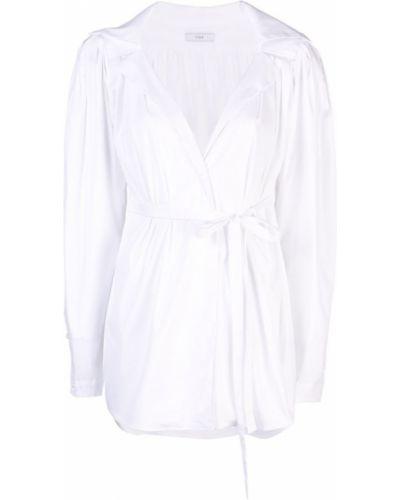 Блузка с длинным рукавом с завязками белая Tome