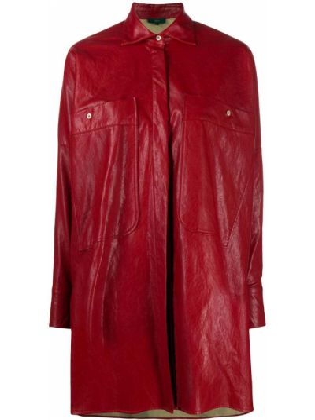 Красная классическая рубашка с воротником оверсайз металлическая Jejia