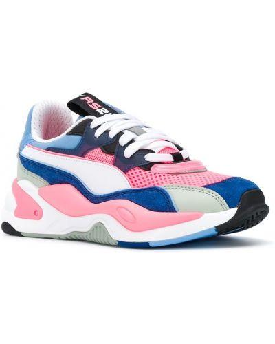 Розовые кроссовки сетчатые на шнуровке со вставками Puma