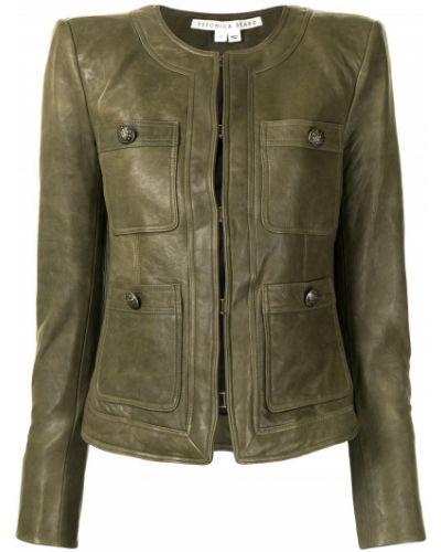 Приталенная зеленая кожаная длинная куртка Veronica Beard