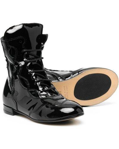 Кожаные массивные черные ботинки на шнуровке Marni Kids