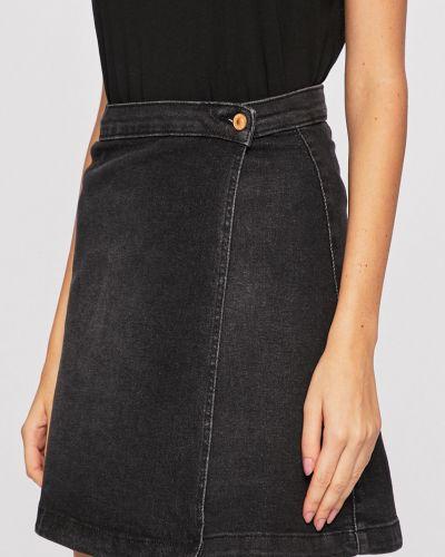 Черная расклешенная джинсовая юбка с поясом на пуговицах Jacqueline De Yong