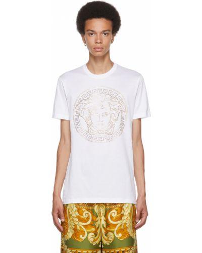 Biała złota koszulka Versace