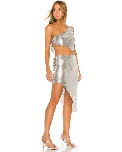 Пляжное серебряное платье на одно плечо Bronx And Banco