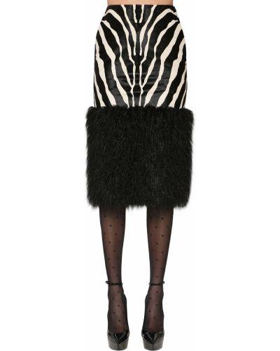 Кожаная юбка с карманами Saint Laurent