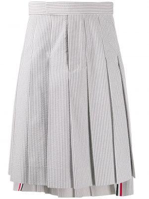 Хлопковая серая плиссированная юбка Thom Browne
