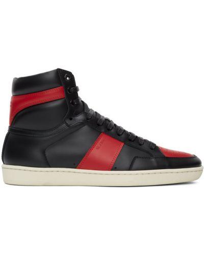 Klasyczny czarny wysoki sneakersy perforowany zasznurować Saint Laurent