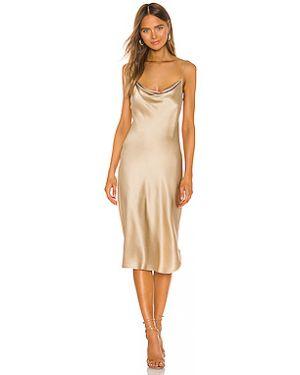 Шелковое тонкое платье миди на бретелях золотое Nili Lotan