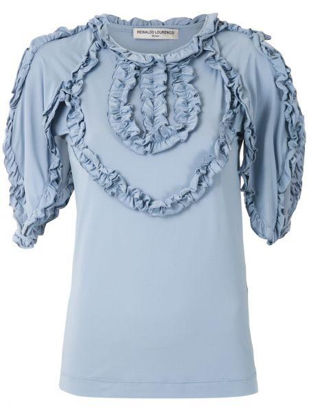 С рукавами синяя блузка с оборками Reinaldo Lourenço
