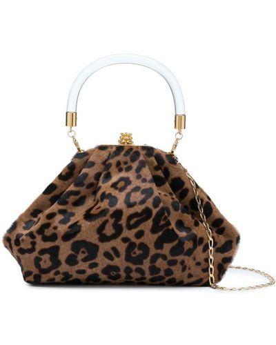 Золотистая шерстяная коричневая сумка Tyler Ellis