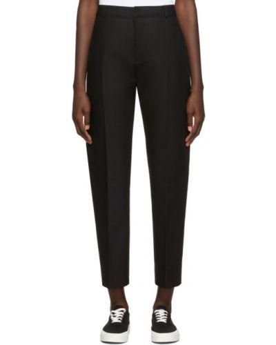 Хлопковые прямые черные брюки с поясом Maison Kitsuné
