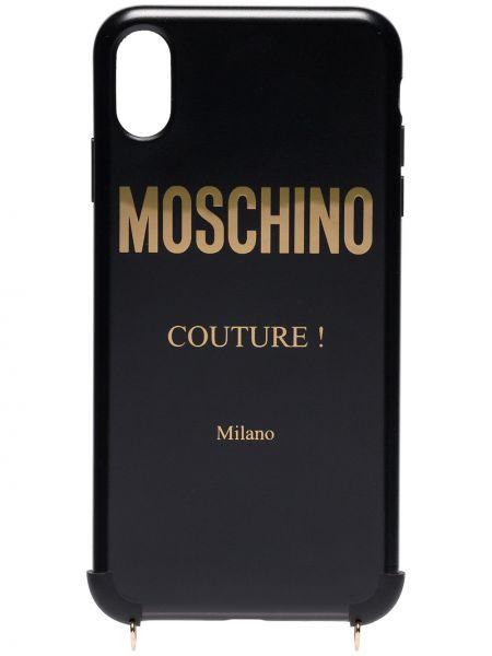 Czarny złoty łańcuch ze złota Moschino