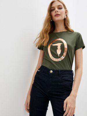 Зеленая футболка с короткими рукавами Trussardi