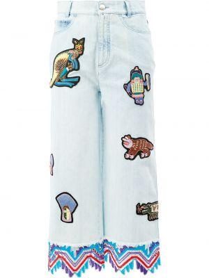 Хлопковые синие укороченные джинсы с заплатками Peter Pilotto